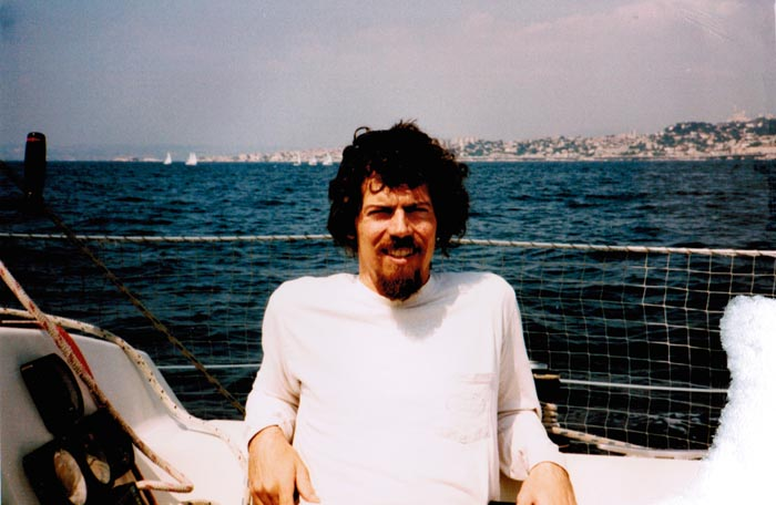 Andrew York on Bernard Maillot's boat in the Mediterranean Sea