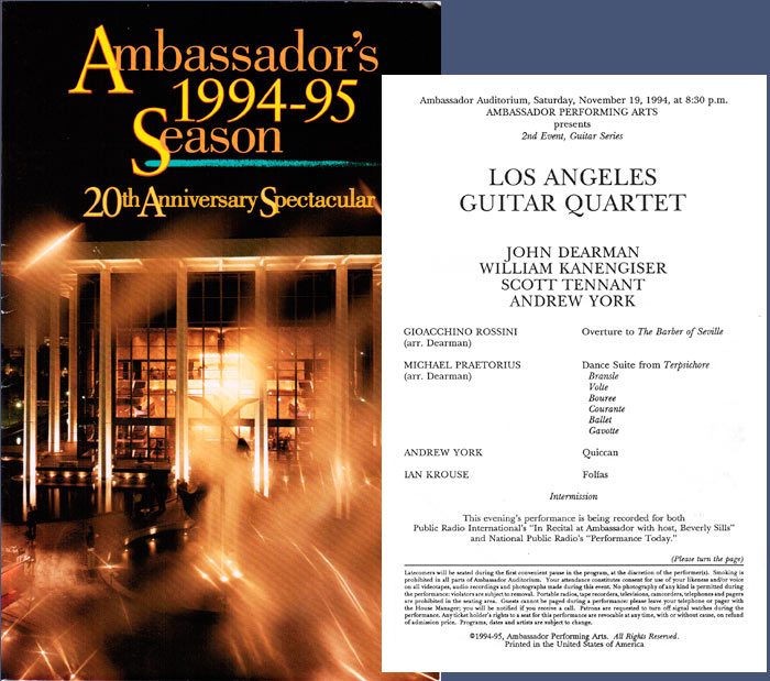 LAGQ-John Dearman, Bill Kanengiser, Scott Tennant and Andrew York, Ambassador Auditorium program
